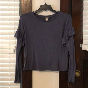 Blue long sleeved knit top